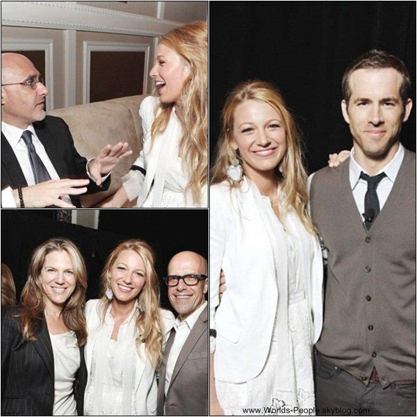 31 Mars > Blake était présente au CinemaCon 2011 et dans la même journée aux CinemaCon Big Screen Achievement Awards, où la miss a gagné un Awards pour son rôle dans Green Lantern. Première tenue : TOP ... Seconde tenue : J'aime moins, mais j'aime quand même !