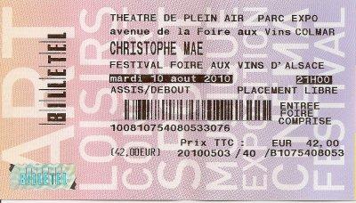 Concert Christophe MAE à la foire au vin de Colmar 2010