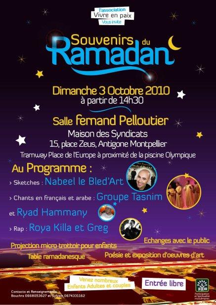 """Fête en """" Souvenir du Ramadan"""" A Montpellier  le 3/10/2010,   quand le """"rire"""" se mêle au merveilleux son des """"Anasheed"""" ."""