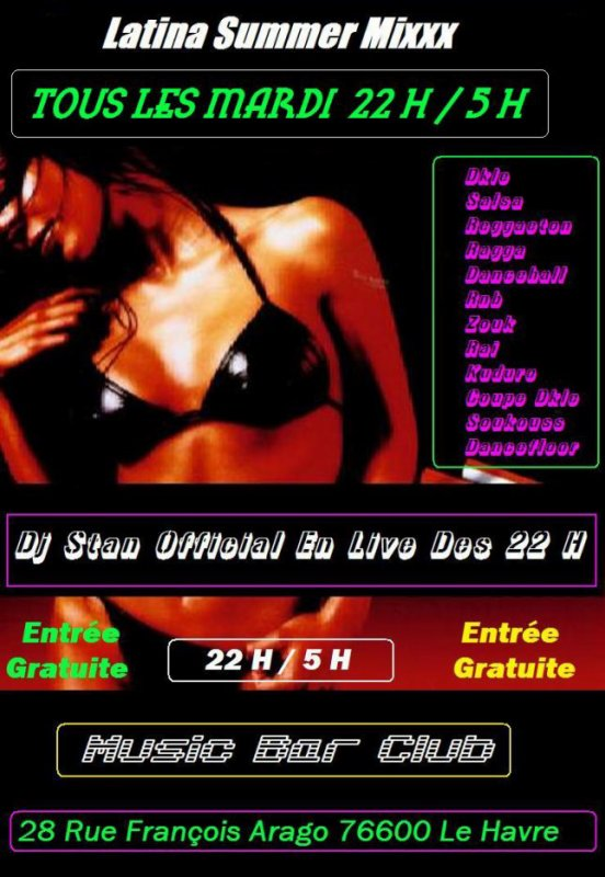 Latina Summer Mixx  ( Tous Les Mardi Au Music Bar )