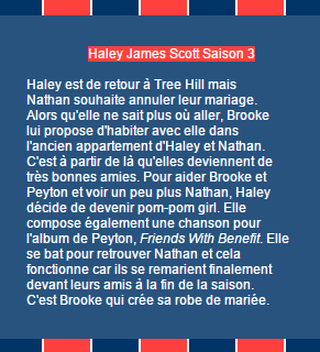 Haley James Scott Saison 1 à 3 on World-Wide