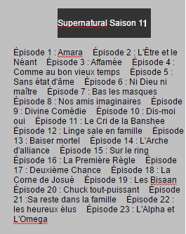 Supernatural Saison 9, 10 & 11 on World-Wide