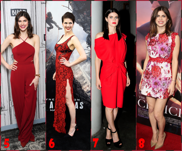 ♦ Alexandra en a porté du rouge et d'ailleurs ça lui va bien ! Mais quelle(s) tenue(s) rouge préférez-vous ?