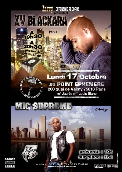 concert evenement XV Blackara et Mic Supreme/Ruff ryders au point fmr le 17 octobre 2011