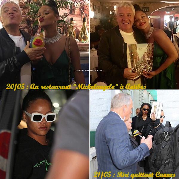 """20 et 21/05/17 : Rihanna au restaurant """"Michelangelo"""" à Antibes puis quittant Cannes"""