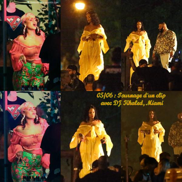""""""" • Rihanna aperçue lors d'un tournage pour un clip en compagnie de """" DJ Khaled """" à Miami le 05 Juin 2017 ! """""""