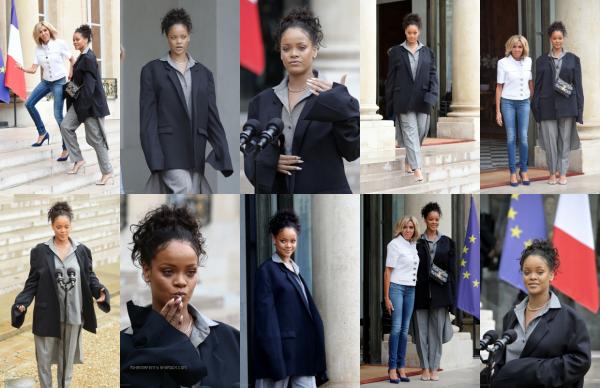 - 26/07/2017 : Rihanna s'est rendue à l'Elysée afin de rencontrer le président français : Emmanuel Macron Concernant la tenue, Riri affiche son propre style comme d'habitude, top ! -