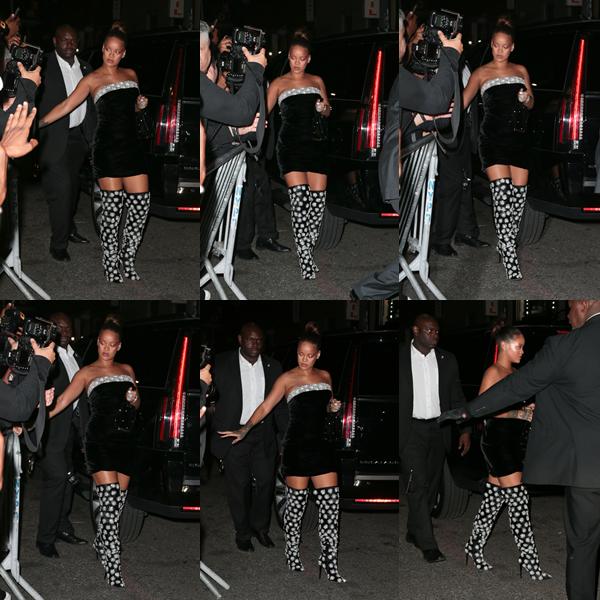 """- 07/09/2017 : Rihanna arrivant à la discothèque """"Up&Down"""" de New-York City Miss Fenty fêtait le lancement de sa marque de cosmétique tout en étant classe, top. -"""