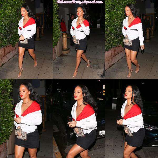 - 11/11/2017 : Rihanna a été photographiée se rendant à son restaurant préféré Giorgio Baldi à Santa Monica. Un gros top en vue pour la miss qui est juste resplendissante ! -
