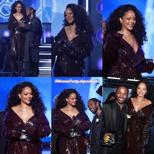 - 28/01/2018 : Rihanna assistait à la 60e Cérémonie des Grammy Awards au  Madison Square Garden  de New-York. La chanteuse barbadienne était magnifique pour recevoir son Grammy pour Loyalty feat Kendrick Lamar ! -