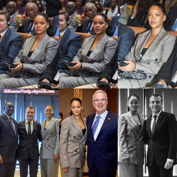 - 02/02/2018 : Rihanna assistait à une conférence du Partenariat Mondial pour l'éducation au Dakar du Senegal. J'adore la tenue que porte la belle chanteuse qui est élégante, c'est un top ! -