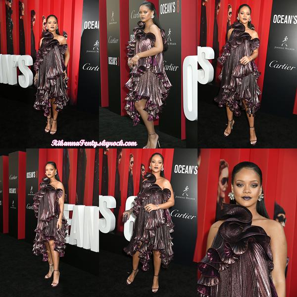 - 05/06/2018 : Rihanna assiste à l'avant-première Mondiale du filmOcean's 8  à New-York. La jolie chanteuse était tout bonnement sublime, c'est un coup de c½ur : un top ! -