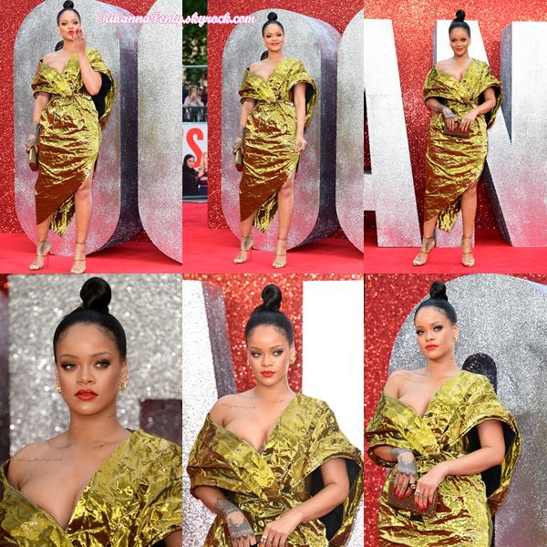 - 13/06/2018 : Rihanna se trouvant seule sur le tapis rouge de la première du film Ocean's 8 à Londres. Une tenue vraiment surprenante mais qui colle à merveilles pour miss Fenty, un top pour l'originalité ! -