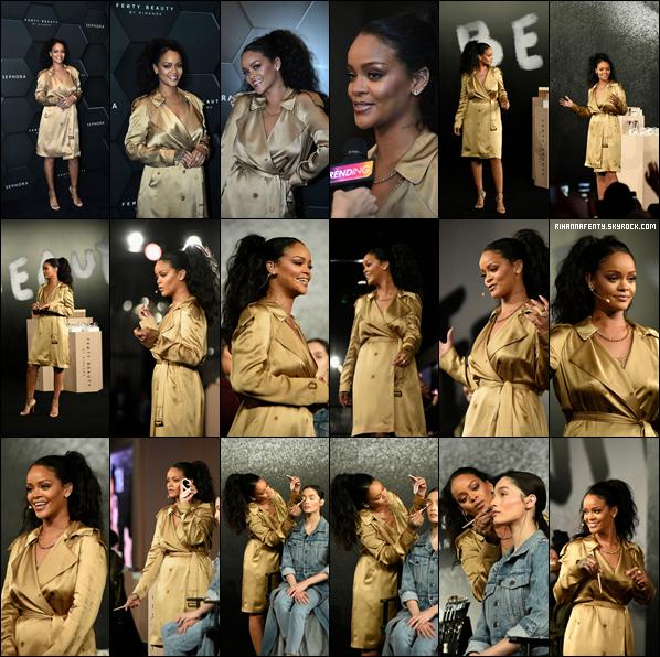 - 29/09/2018 : Rihanna lors du lancement de son nouveau rouge à lèvres Stunna « Uninvited » à Dubaï. La chanteuse aux origines barbadiennes est juste magnifique dans une tenue doré c'est un top bien mérité pour la queen !  -
