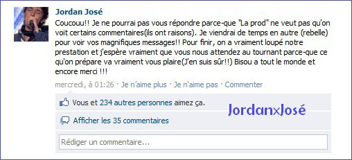Message de Jordan sur son Facebook  (mercredi 13/04)