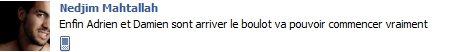 Message de Nedjim sur son Facebook : 2nde Nature à Nantes