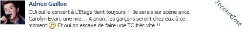 Message de Jordan sur son Facebook  (jeudi 07/07 à 20h15) + Adrien a répondu à mon message
