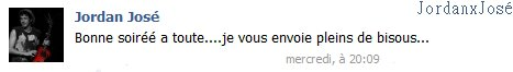 Message de Jordan sur son Facebook  (mercredi 16/11 à 20h09) ~ JORDAN IS BACK ON FB ;-)