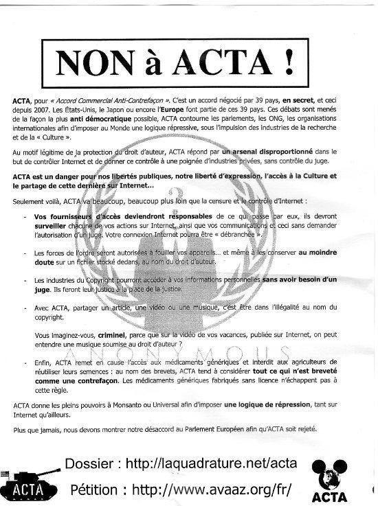Comment agir contre l'ACTA ?
