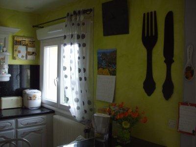 Cuisine gris perle mur vert granny - La rénovation de ...