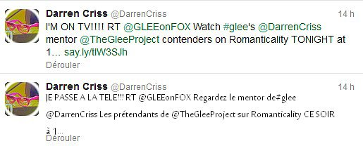 Darren dans The Glee Project + Tweet