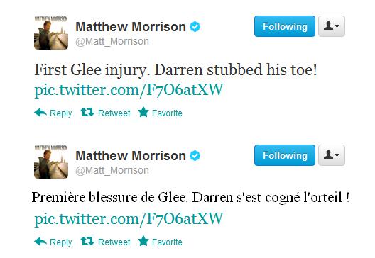Darren blessé à l'orteil sur le tournage de Glee