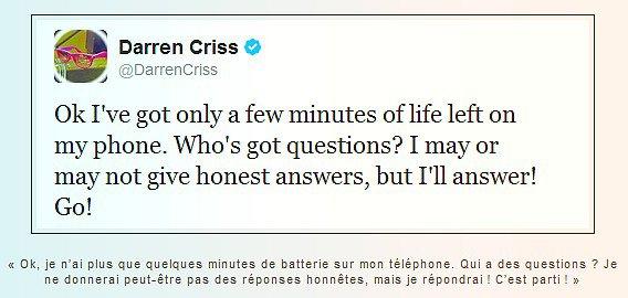 Darren fait un Q&A… à la Darren.