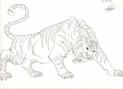 Coloriage tigre a dent de sabre my blog - Photo de tigre a imprimer ...