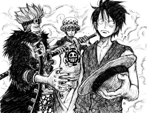 Luffy, Law, Kidd et leurs bras droits