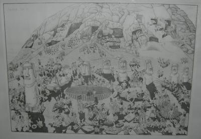 dessin humoristique du Rano Raraku