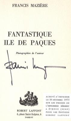 autographe de Francis Mazière à l'issue de sa conférence à Verviers (Belgique) du 02/04/1976