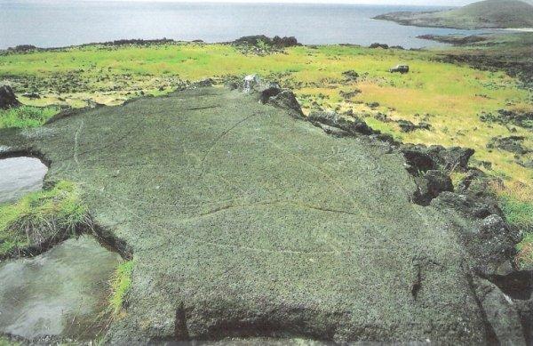 Groupe de pétroglyphes à Anakena