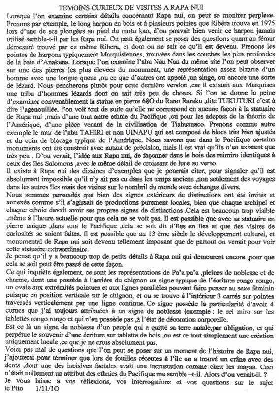 """82e article de FD: """"Témoins curieux de visites à Rapa Nui"""""""