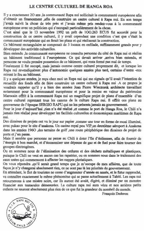 """84e article de FD: """"Le centre culturel de Hanga Roa"""""""