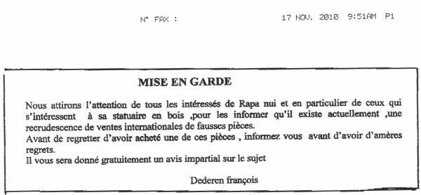Mise en garde de François Dederen - 17/11/2010
