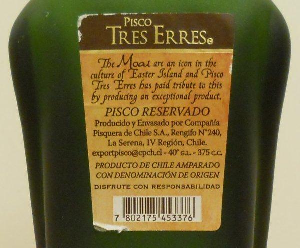 bouteille de pisco - étiquette