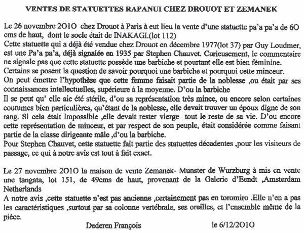 avis de FD sur les statuettes mises en vente chez Drouot & Zemanek