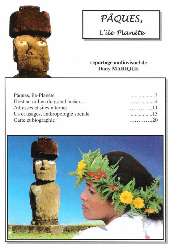 """fascicule de la conférence de Dany Marique """"Pâques, l'île-Planète"""", saison 2007/2008"""