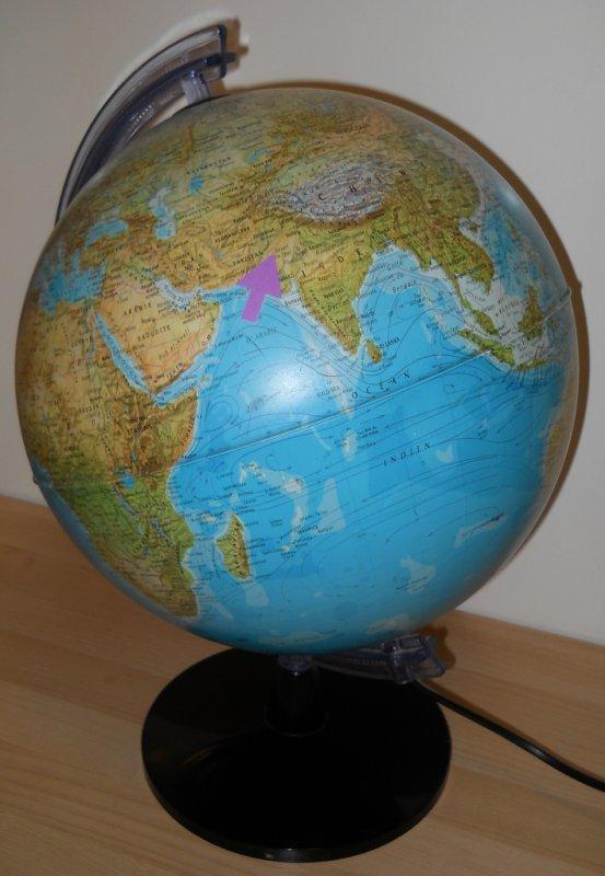 Position du point antipodal de l'IDP sur le globe terrestre