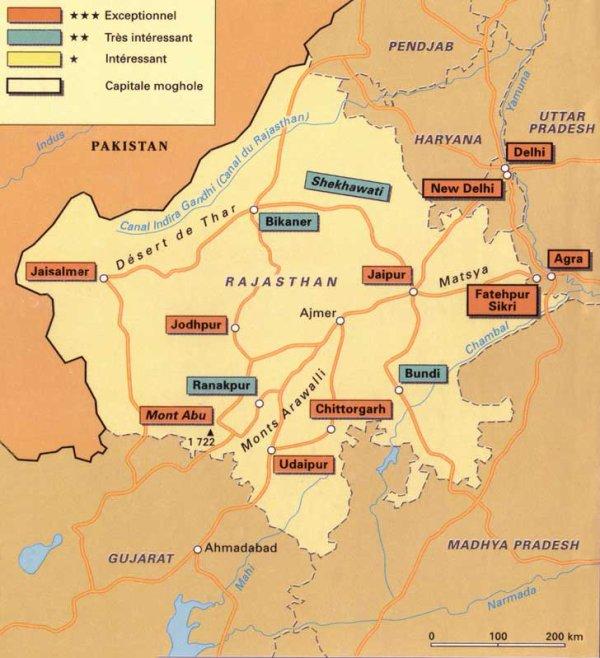 carte du Rajasthan