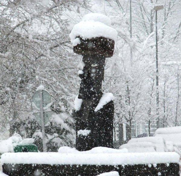 Le moai d'Olot (Nord-Est de l'Espagne) sous la neige