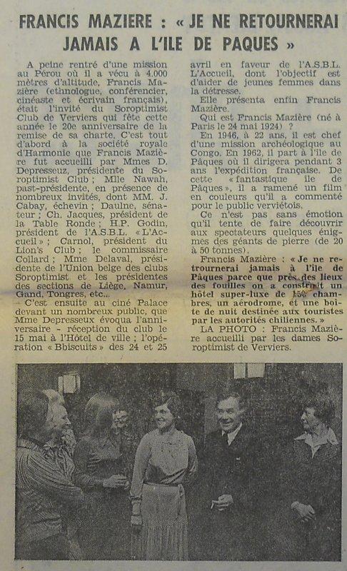 """""""Fantastique île de Pâques"""" à Verviers (Belgique) le 02/04/1976 - 4"""