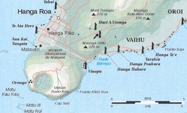 emplacement sur la carte de l'IDP des moai modernes