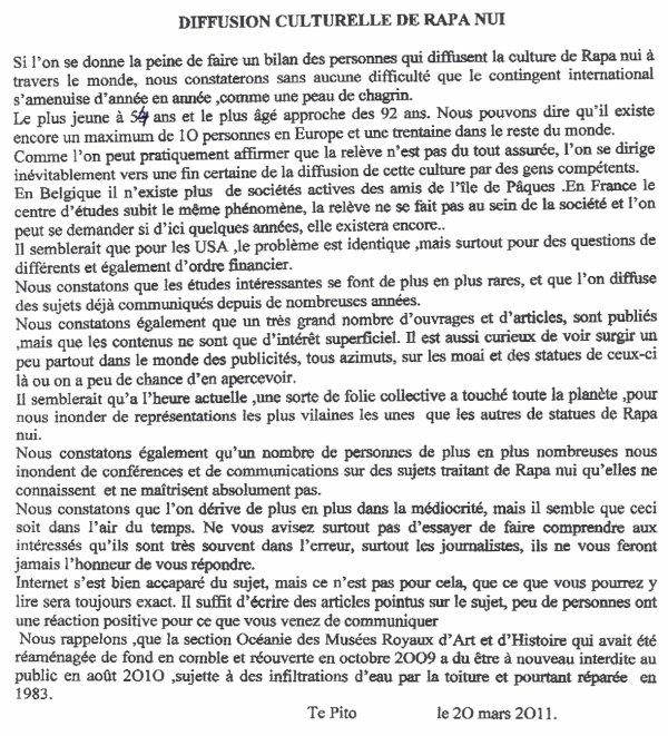 "88e article de FD: ""Diffusion culturelle de Rapa Nui"""