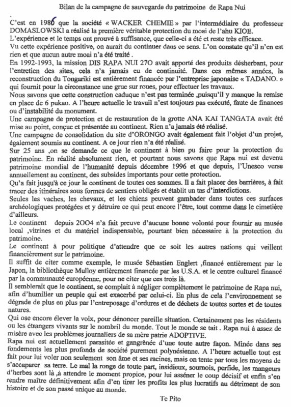 "91e article de FD: ""Bilan de la campagne de sauvegarde du patrimoine de Rapa Nui"" - 14/04/2011"