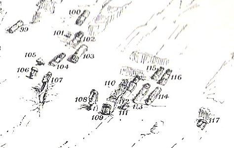 Routledge - figure 47 (détail) - position des moai n° 108 & 109 (numérotation de Routledge)