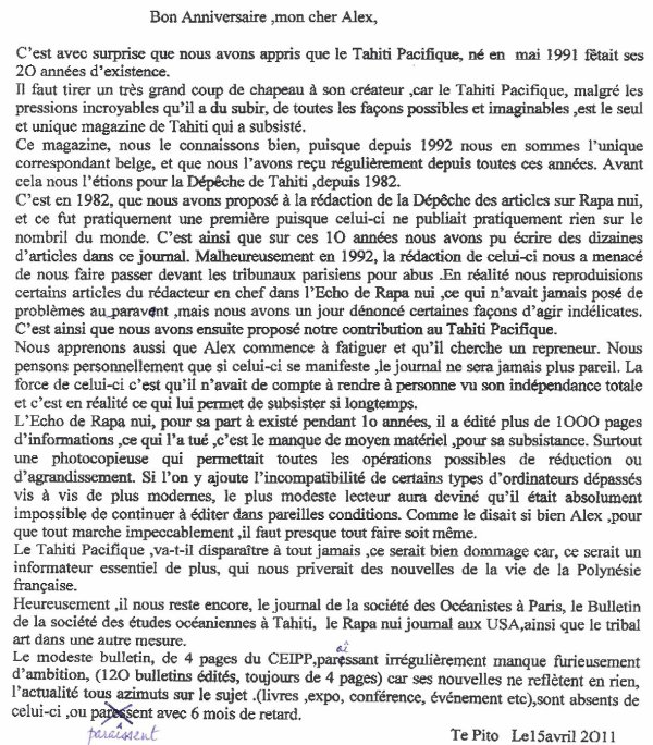 "92e article de FD: ""Les 20 ans de Tahiti Pacifique"" (2/2)"