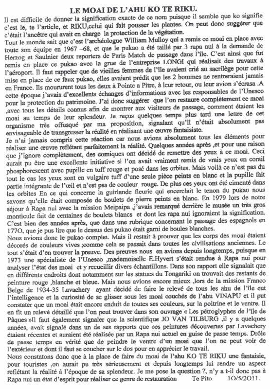 """96e article de FD: """"Le moai de l'ahu ko te riku"""" (2/2)"""