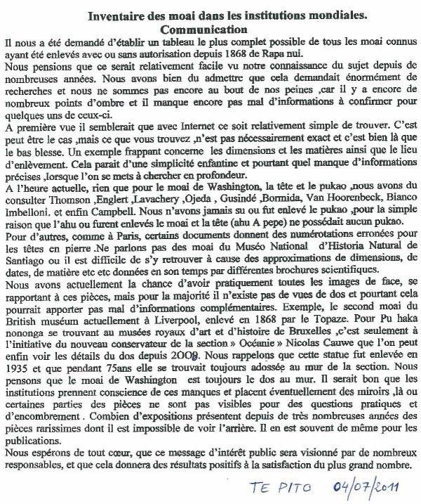 """101e article de FD: """"Inventaire des moai dans les institutions mondiales"""""""