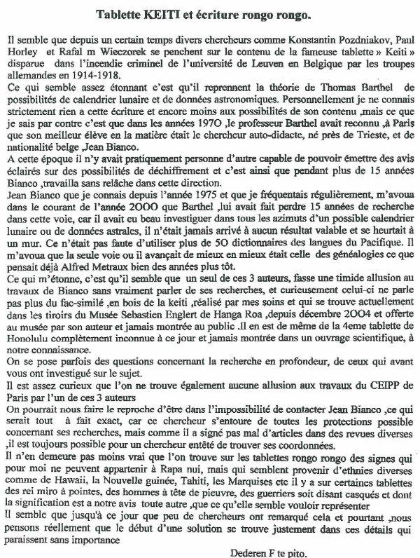 """104e article de FD: """"Tablette Keiti et écriture rongo rongo"""""""